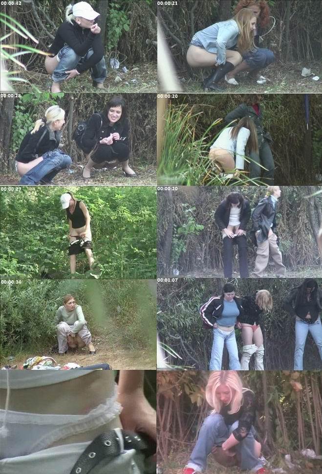 Писающие женщины в кустах скрытой камеры — 12